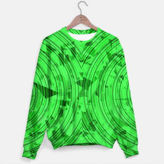 Thumbnail image of psychedelic geometric circle pattern abstract background in green Sweater, Live Heroes