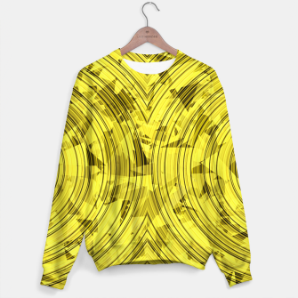 Thumbnail image of psychedelic geometric circle pattern abstract background in yellow Sweater, Live Heroes