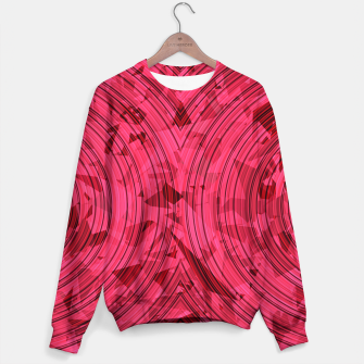 Thumbnail image of psychedelic geometric circle pattern abstract background in red and pink Sweater, Live Heroes