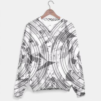 Thumbnail image of psychedelic geometric circle pattern abstract background in black and white Sweater, Live Heroes