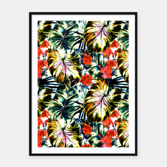 Thumbnail image of Tropical abstract foliage Cartel con marco, Live Heroes