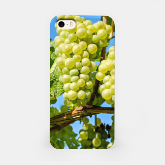 Miniaturka Delicious growing green grapes bunch farming on a beautiful blue summer sky background iPhone Case, Live Heroes