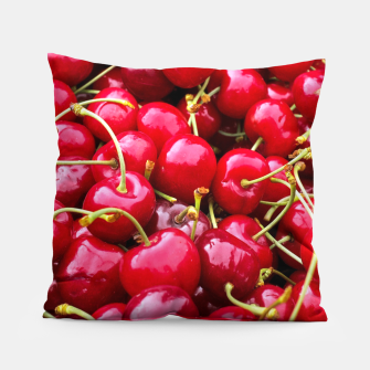 Thumbnail image of Fresh and delicious fruity red cherries fruit food pattern Pillow, Live Heroes