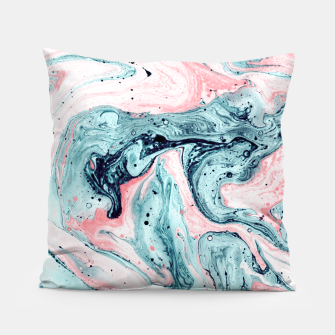 Thumbnail image of  Marbled tide painted blue and pink Almohada, Live Heroes