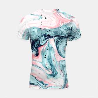 Thumbnail image of  Marbled tide painted blue and pink Shortsleeve Rashguard, Live Heroes