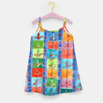 Thumbnail image of Colorful Planting Plants in Squares Pattern  Girl's Dress, Live Heroes