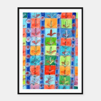 Thumbnail image of Colorful Planting Plants in Squares Pattern  Framed poster, Live Heroes