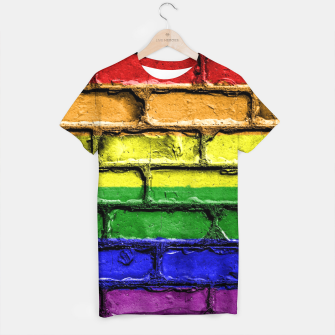 Miniaturka Colorful LGBT rainbow pride flag brick wall T-shirt, Live Heroes