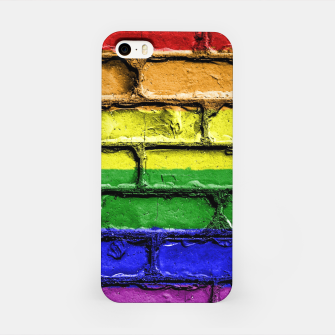 Miniaturka Colorful LGBT rainbow pride flag brick wall iPhone Case, Live Heroes