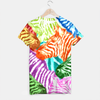 Miniaturka Beautiful colorful zebras africa wildlife background art T-shirt, Live Heroes