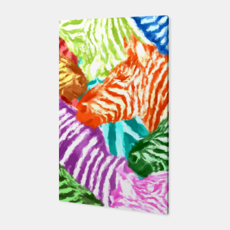 Miniaturka Beautiful colorful zebras africa wildlife background art Canvas, Live Heroes