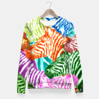 Miniaturka Beautiful colorful zebras africa wildlife background art Fitted Waist Sweater, Live Heroes