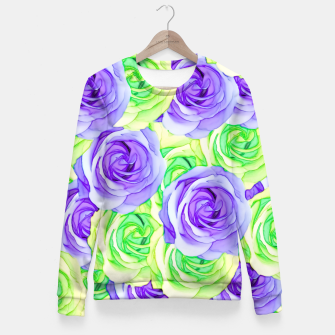 Thumbnail image of purple rose and green rose pattern abstract background Fitted Waist Sweater, Live Heroes