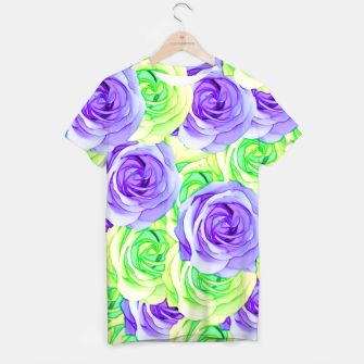 Thumbnail image of purple rose and green rose pattern abstract background T-shirt, Live Heroes