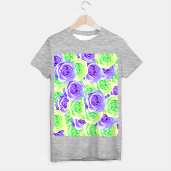 Thumbnail image of purple rose and green rose pattern abstract background T-shirt regular, Live Heroes