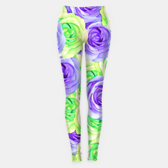 Thumbnail image of purple rose and green rose pattern abstract background Leggings, Live Heroes