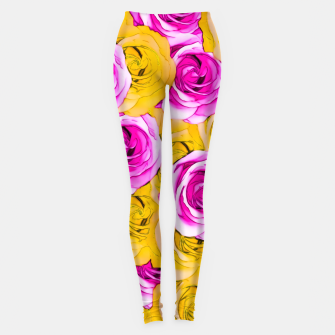Thumbnail image of pink rose and yellow rose pattern abstract background Leggings, Live Heroes