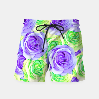 Thumbnail image of purple rose and green rose pattern abstract background Swim Shorts, Live Heroes