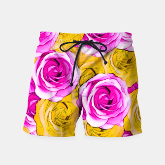 Thumbnail image of pink rose and yellow rose pattern abstract background Swim Shorts, Live Heroes