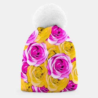 Imagen en miniatura de pink rose and yellow rose pattern abstract background Beanie, Live Heroes