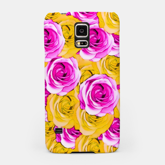 Thumbnail image of pink rose and yellow rose pattern abstract background Samsung Case, Live Heroes