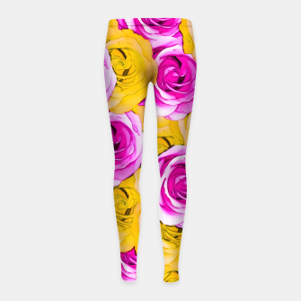 Imagen en miniatura de pink rose and yellow rose pattern abstract background Girl's Leggings, Live Heroes