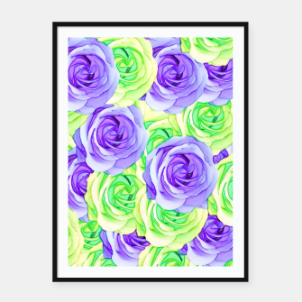 Thumbnail image of purple rose and green rose pattern abstract background Framed poster, Live Heroes