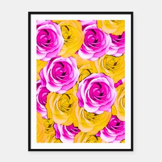 Thumbnail image of pink rose and yellow rose pattern abstract background Framed poster, Live Heroes