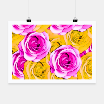 Thumbnail image of pink rose and yellow rose pattern abstract background Poster, Live Heroes