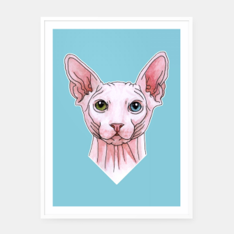 Thumbnail image of Sphynx cat portrait Framed poster, Live Heroes