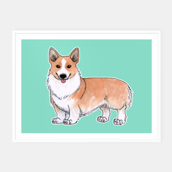 Thumbnail image of Corgi dog Framed poster, Live Heroes