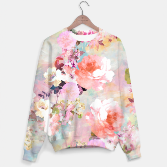 Thumbnail image of Romantic Pink Teal Watercolor Chic Floral pattern Sweater, Live Heroes