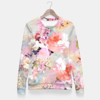 Thumbnail image of Romantic Pink Teal Watercolor Chic Floral pattern Fitted Waist Sweater, Live Heroes