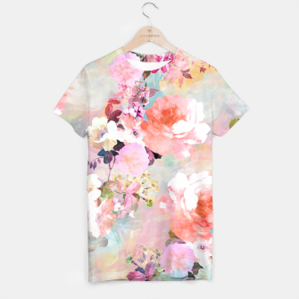 Thumbnail image of Romantic Pink Teal Watercolor Chic Floral pattern T-shirt, Live Heroes