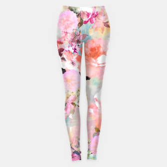 Thumbnail image of Romantic Pink Teal Watercolor Chic Floral pattern Leggings, Live Heroes