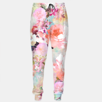 Thumbnail image of Romantic Pink Teal Watercolor Chic Floral pattern Sweatpants, Live Heroes