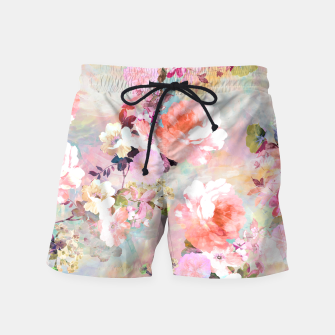 Thumbnail image of Romantic Pink Teal Watercolor Chic Floral pattern Swim Shorts, Live Heroes
