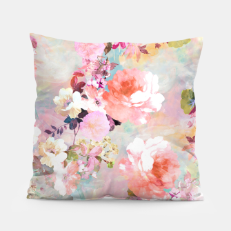 Thumbnail image of Romantic Pink Teal Watercolor Chic Floral pattern Pillow, Live Heroes