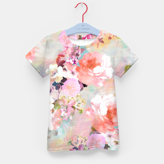 Thumbnail image of Romantic Pink Teal Watercolor Chic Floral pattern Kid's T-shirt, Live Heroes