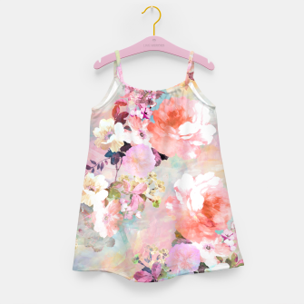 Thumbnail image of Romantic Pink Teal Watercolor Chic Floral pattern Girl's Dress, Live Heroes