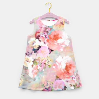 Thumbnail image of Romantic Pink Teal Watercolor Chic Floral pattern Girl's Summer Dress, Live Heroes