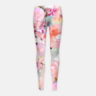 Thumbnail image of Romantic Pink Teal Watercolor Chic Floral pattern Girl's Leggings, Live Heroes