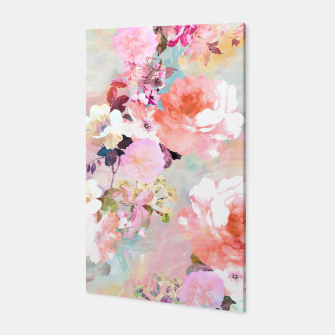Thumbnail image of Romantic Pink Teal Watercolor Chic Floral pattern Canvas, Live Heroes
