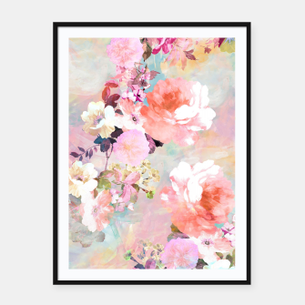 Thumbnail image of Romantic Pink Teal Watercolor Chic Floral pattern Framed poster, Live Heroes
