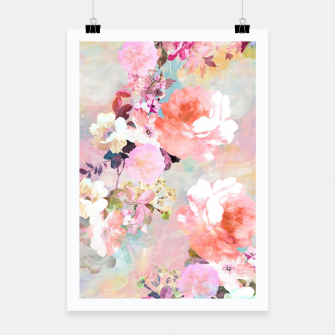 Thumbnail image of Romantic Pink Teal Watercolor Chic Floral pattern Poster, Live Heroes