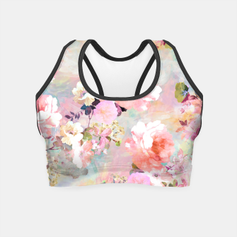 Thumbnail image of Romantic Pink Teal Watercolor Chic Floral pattern Crop Top, Live Heroes