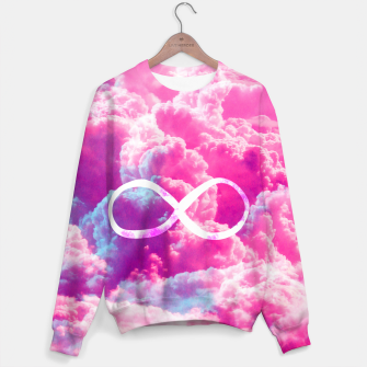 Thumbnail image of Girly Infinity Symbol Bright Pink Clouds Sky  Sweater, Live Heroes