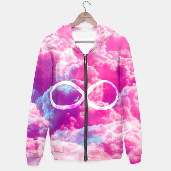 Thumbnail image of Girly Infinity Symbol Bright Pink Clouds Sky  Hoodie, Live Heroes