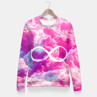 Thumbnail image of Girly Infinity Symbol Bright Pink Clouds Sky  Fitted Waist Sweater, Live Heroes