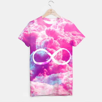 Thumbnail image of Girly Infinity Symbol Bright Pink Clouds Sky  T-shirt, Live Heroes